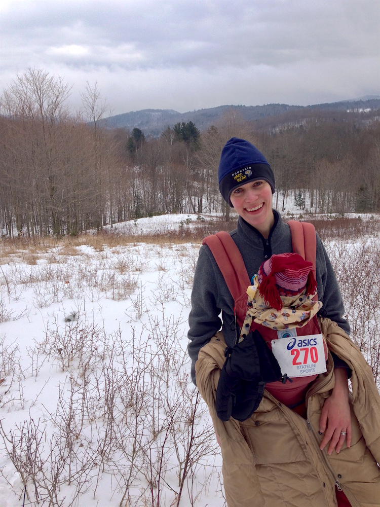 Babywoods and me participating in our town's snowshoe-a-thon last year