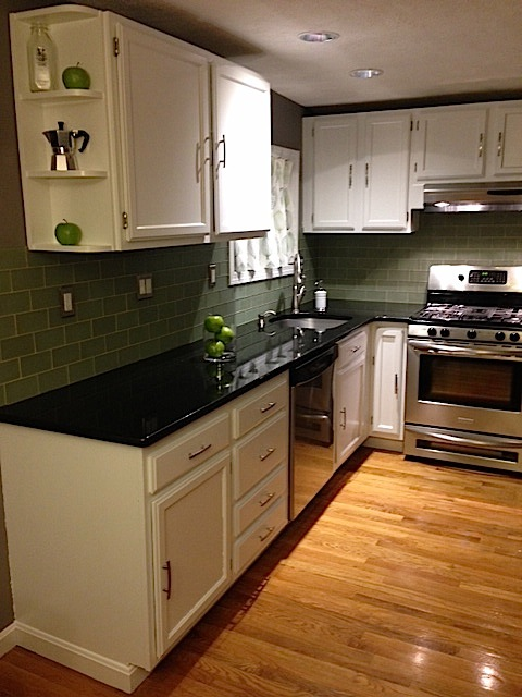 The kitchen cabinets we refinished