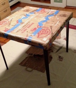 Table used for painting doors and drawers