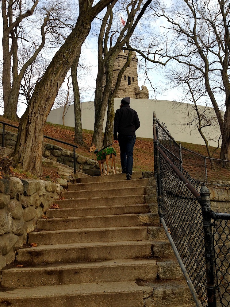 Mr. FW and Frugal Hound walking up the steps of Prospect Hill Park