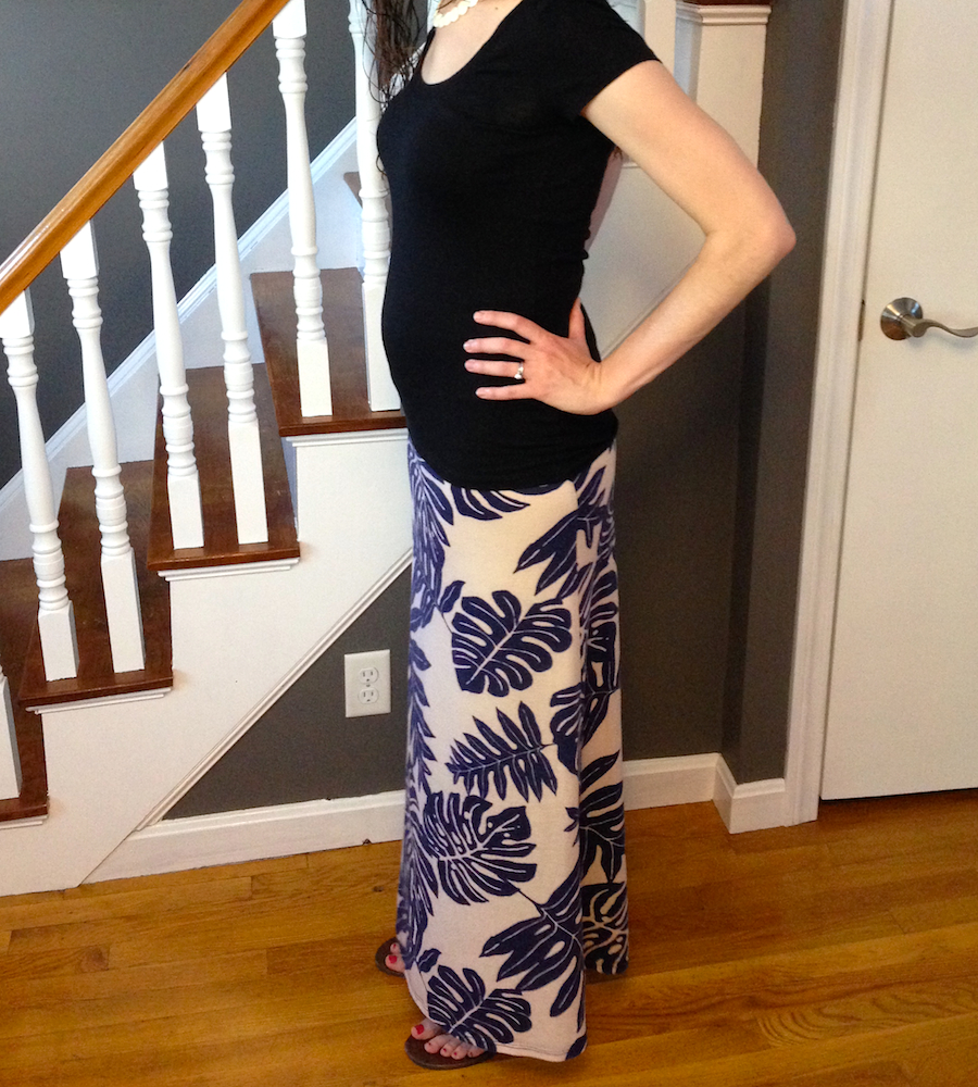 I'm 22 weeks pregnant this week! Love this hand-me-down skirt from Cat :)
