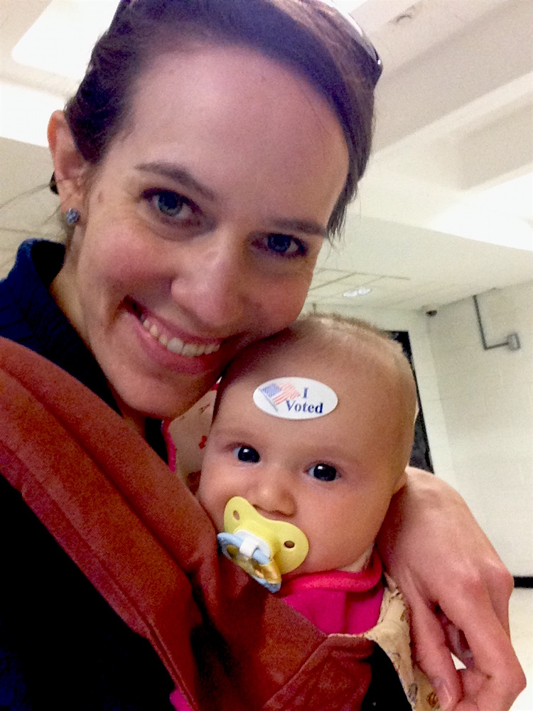 Babywoods and I voted in our hand-me-down Ergo