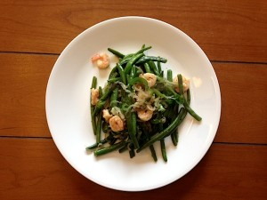 The legendary green beans! Paired with cheap frozen shrimp and leftover jalepanos