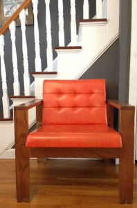 Funky Craigslist chair. I might repaint the arms, but I can't decide on a color...thoughts?