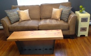 Craigslist couch! And side table. The coffee table was handmade by Mr. Frugalwoods