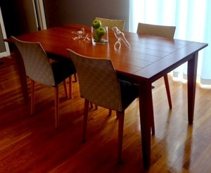 Possibly our best Craigslist find ever: solid wood dining room table & chairs for $75!