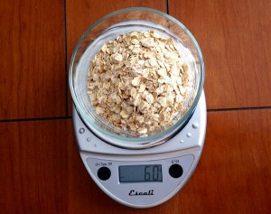 How do we know we're only eating 60 grams? Behold: our food scale.