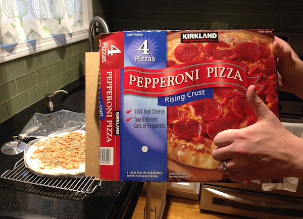 Mr. FW gives the Costco 'za two thumbs up