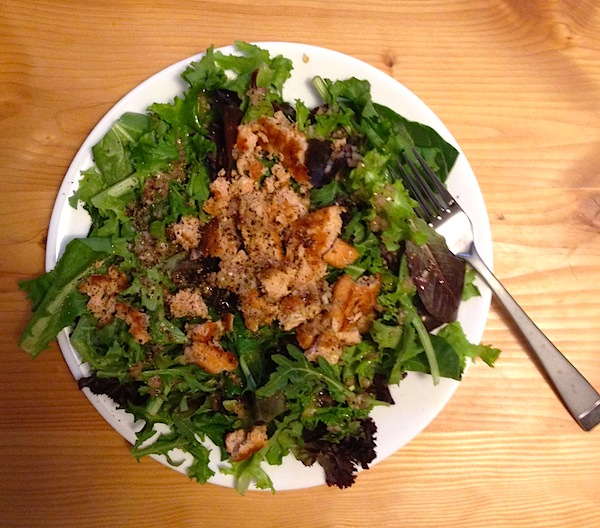 A standard, simple weekday meal for us: salmon salad
