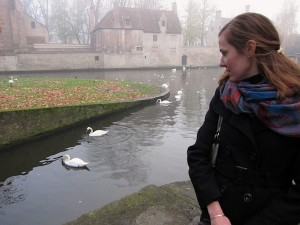 Me apparently afraid of some geese in Bruges, Belgium