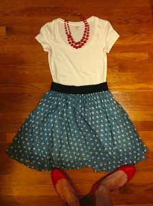 My thrift store star skirt! Featured with a Kohl's t-shirt and Target flats