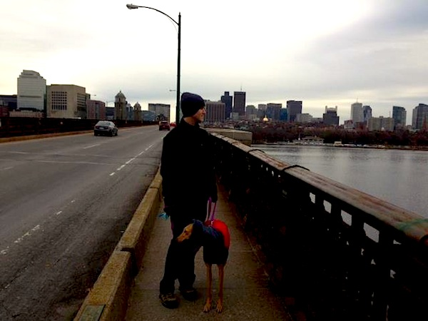 Mr. FW and Frugal Hound walking from Cambridge to Boston