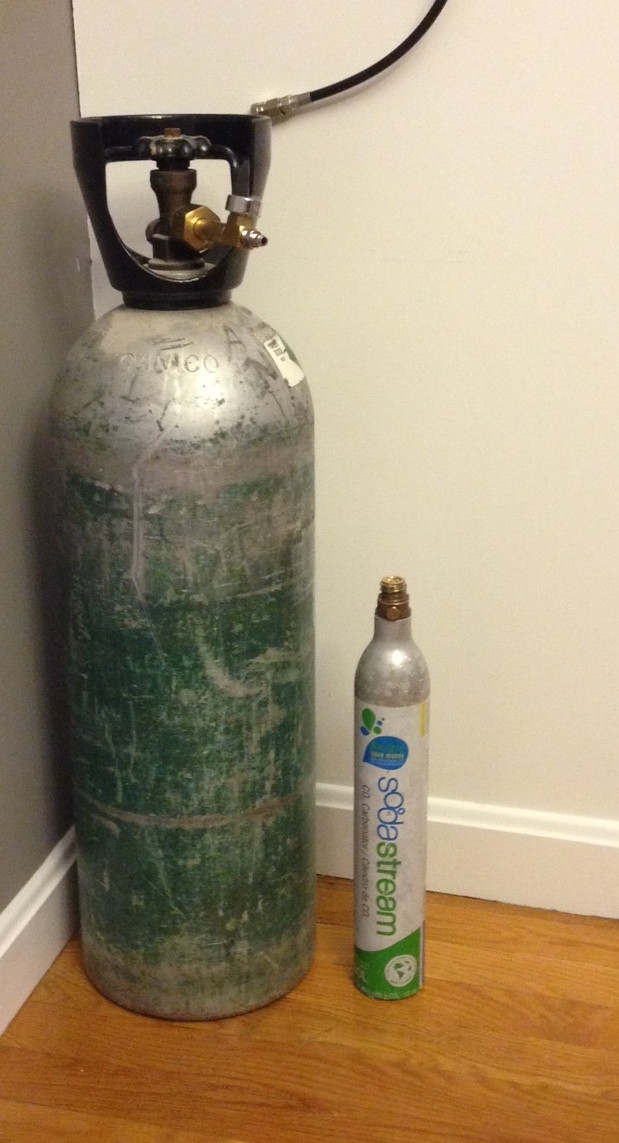 Our 20lb CO2 tank vs. the standard Sodastream canister