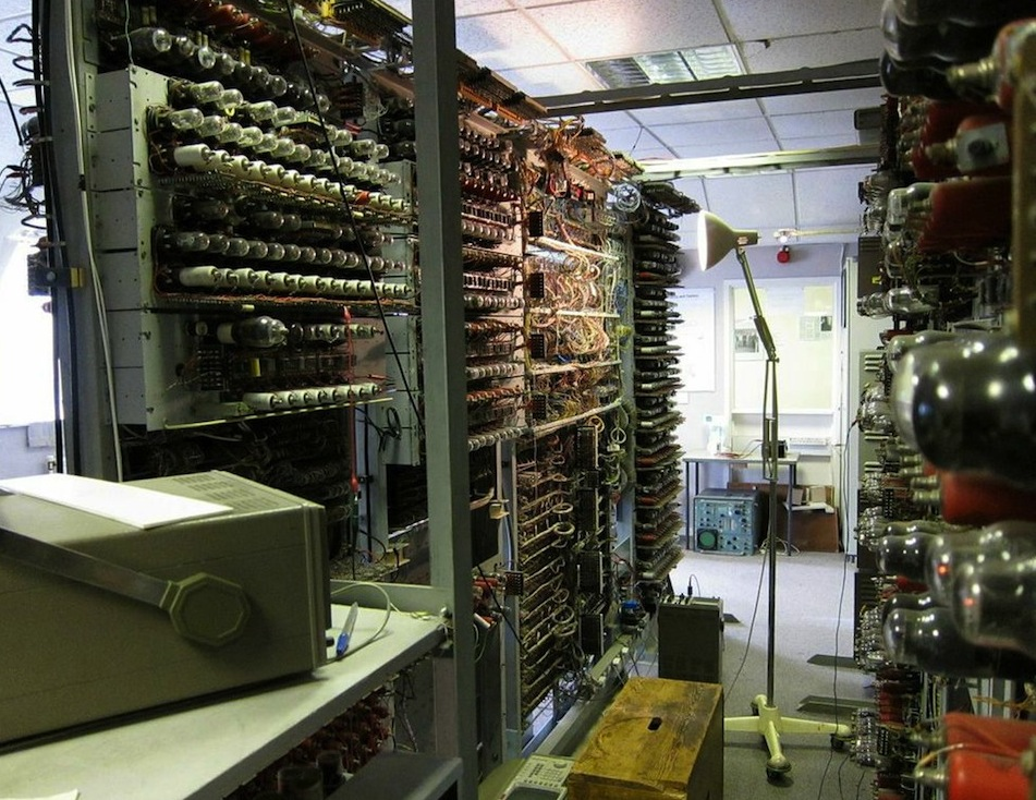A working reconstruction of an early-model computer called Colossus, which was built at Bletchley Park.