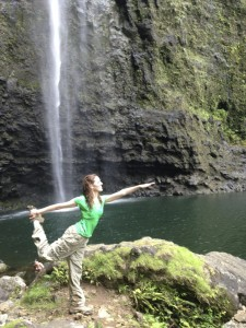Me doing yoga after swimming under Hanakapiai Falls