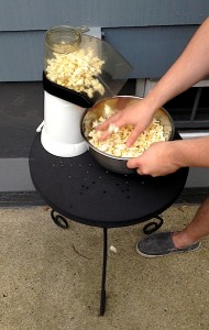 Popped the popcorn outside so as not to heat up the house