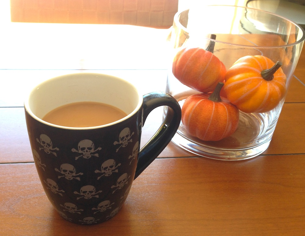 Enjoying a homemade Pumpkin Spice Latte in a trash find mug