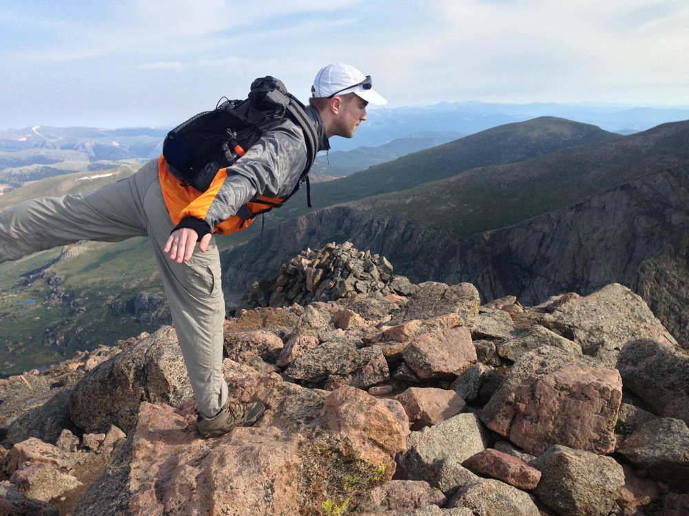 Mr. FW (pre-beard!) doing yoga on Mt. Bierstadt