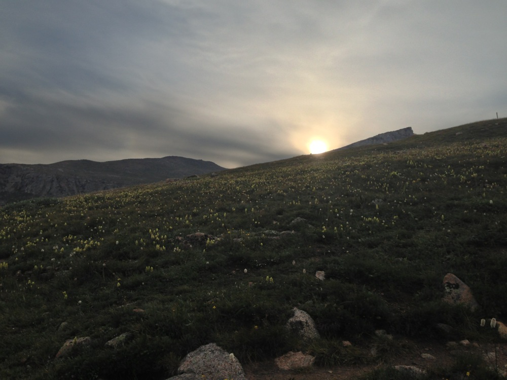 The sunrise over Mt. Bierstadt