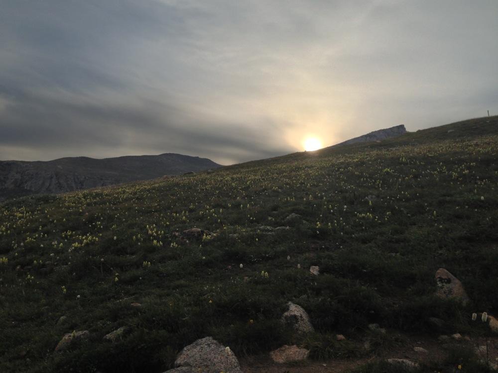 The sunrise over Mt. Bierstadt