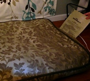 The warmer slips inside Frugal Hound's dog bed cover