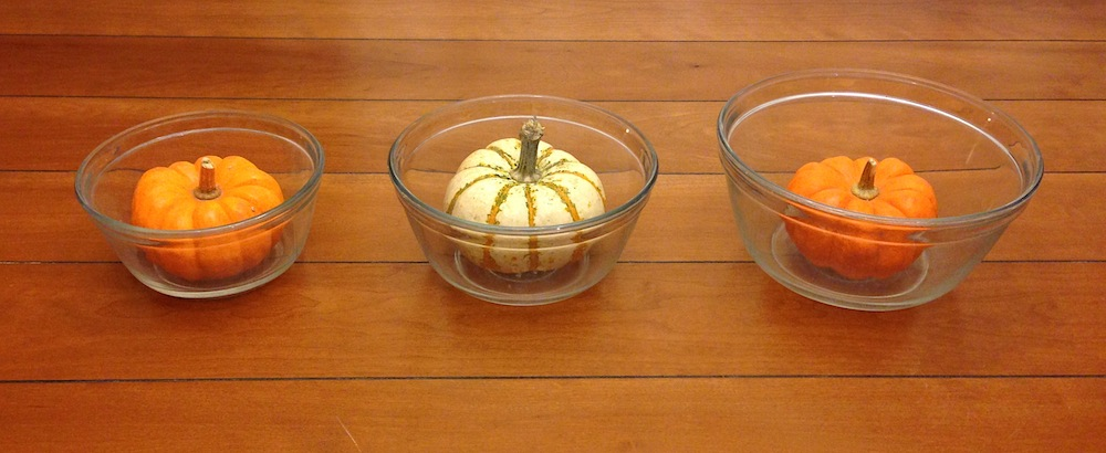 Glass mixing bowls. Pumpkins not included.