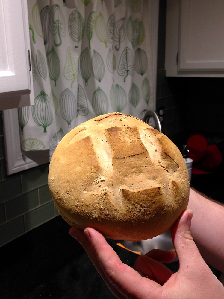Homemade artisan boule to share