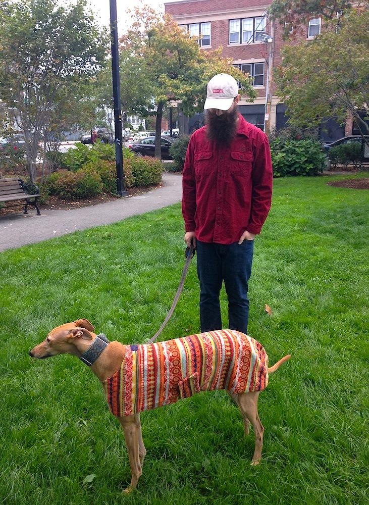 Mr. FW & Frugal Hound (in her autumnal hound coat)