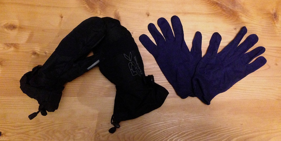 Mittens on the left, gloves on the right