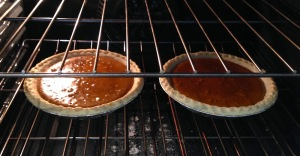 Pies in the oven (and I now see that I forgot the topping...)