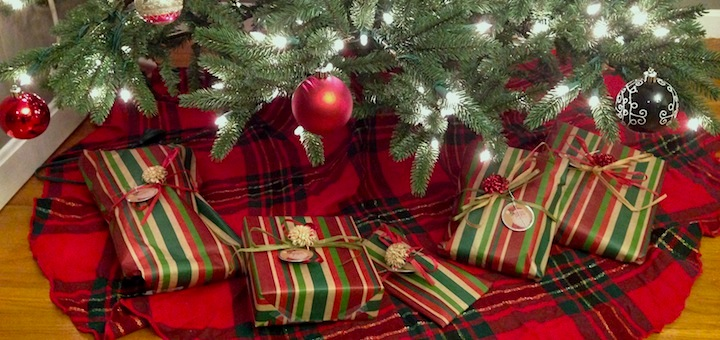 All credit for these amazingly wrapped gifts 'neath our frugal tree go to my fabulous mother-in-law