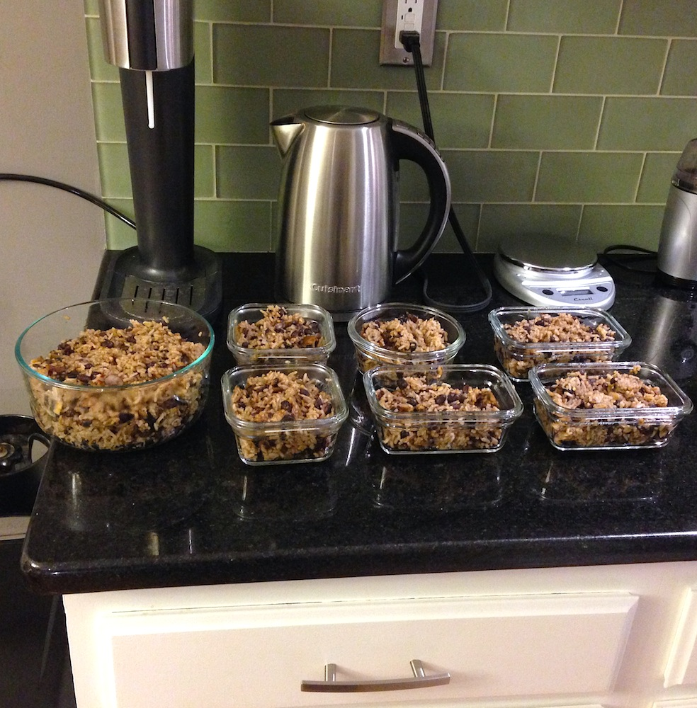 Our rice-and-beans portioned out for the week