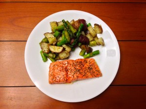 A fancy weekend dinner with salmon, asparagus, and potatoes