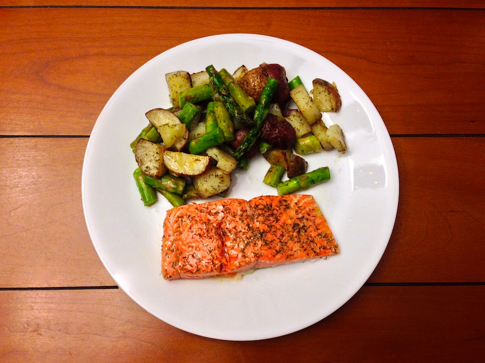 Salmon, asparagus, and potatoes at our house, anyone?