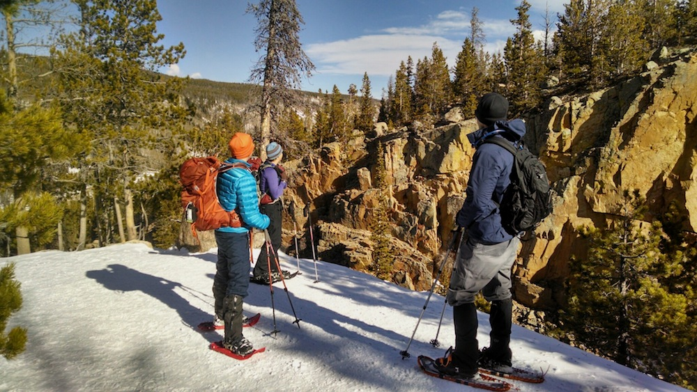 My new frugal friends and I on a frugal snowshoeing adventure in Rocky Mountain National Park