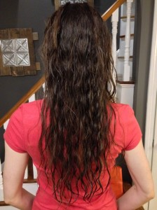 The starting point for my hair: wet, tangled, & naturally wavy