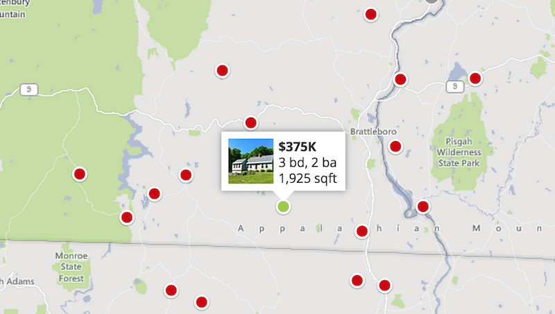 Here's the current zillow view of Southern Vermont properties with more than 20 acres for less than $400k.