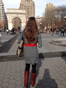 Walking through Washington Sq Park on our way to NYU