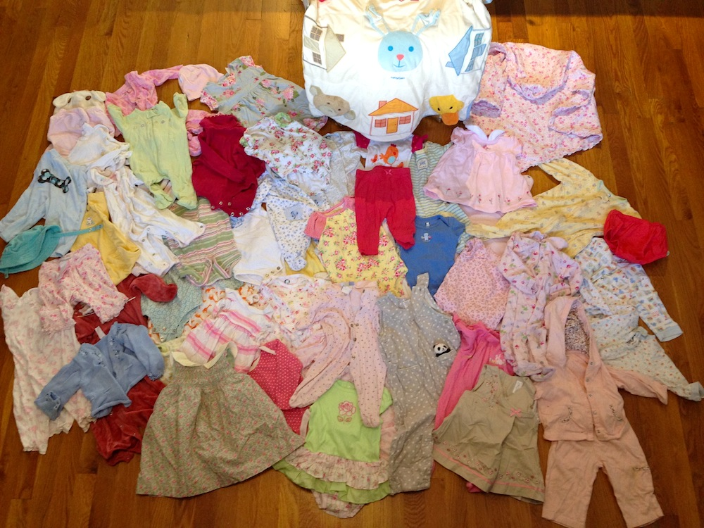 Our $10 garage sale haul of baby clothes!