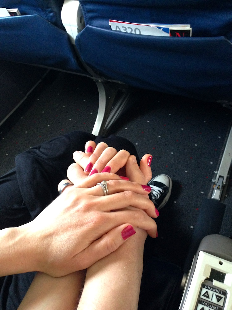 My homemade manicure--as seen holding hands on our flight