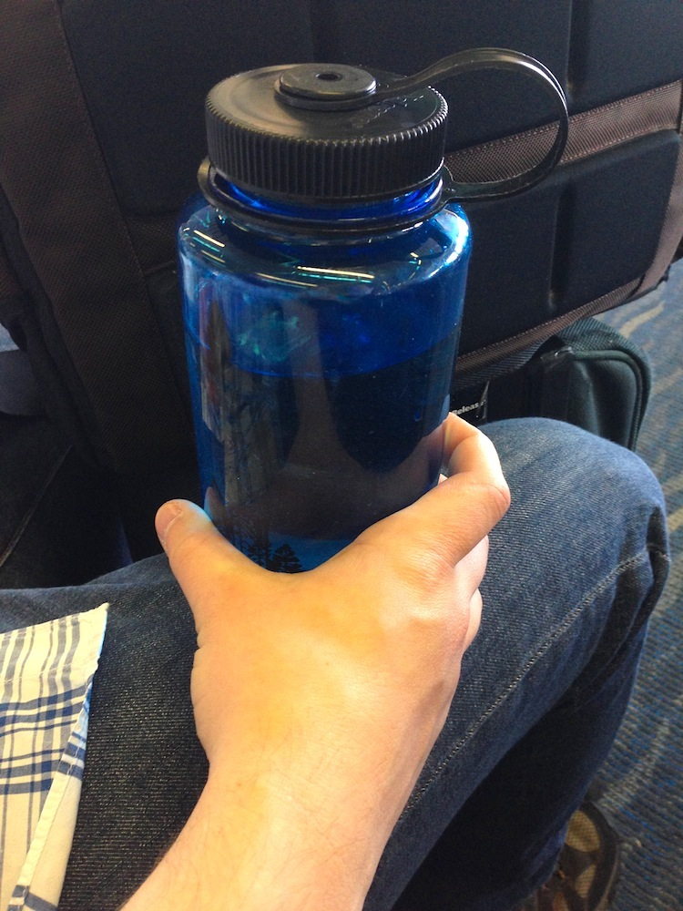 Our free waterbottle at the airport