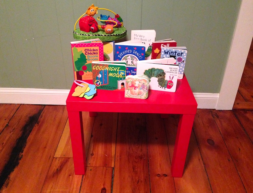 An array of hand-me-down books and toys we've received