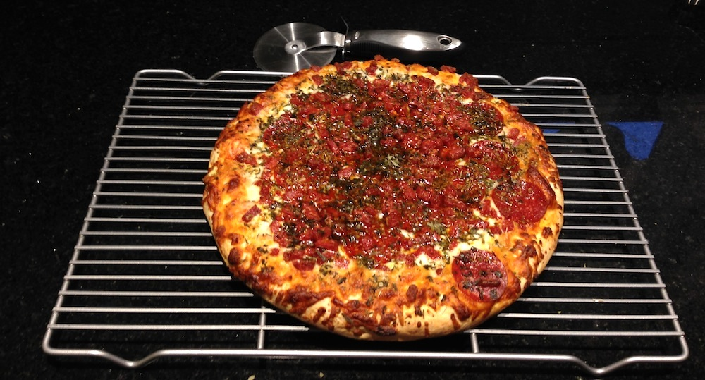 Our Costco pizza in all its glory