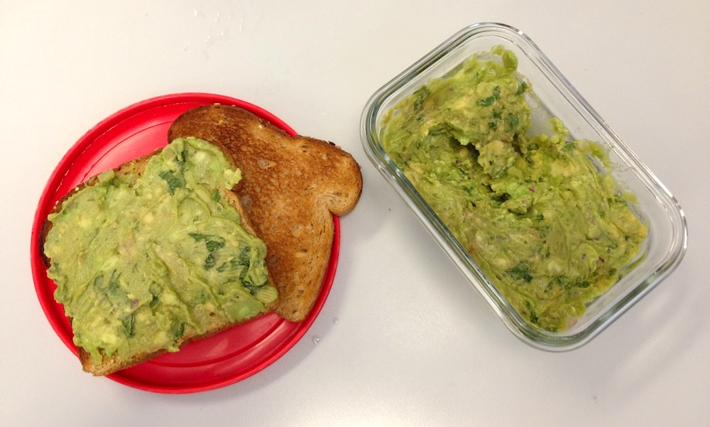 Making guacamole sandwiches with leftover guac