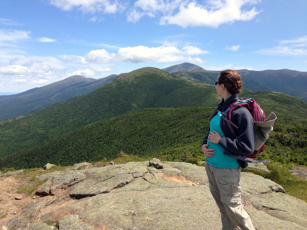 5 months pregnant on the summit of Mt. Pierce looking towards our destination of Mt. Eisenhower