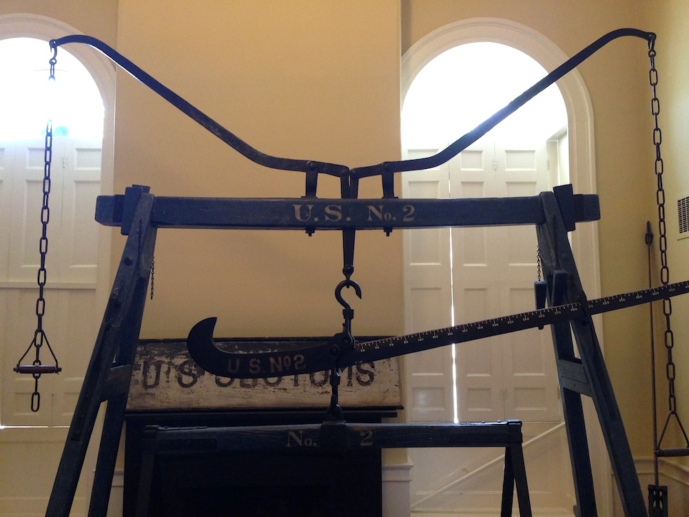 A scale used to weigh goods at the Custom House