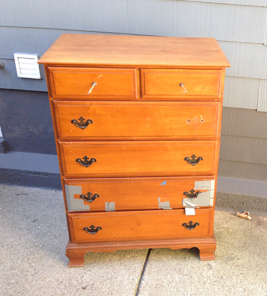 Before: we rescued this tragic dresser from the trash