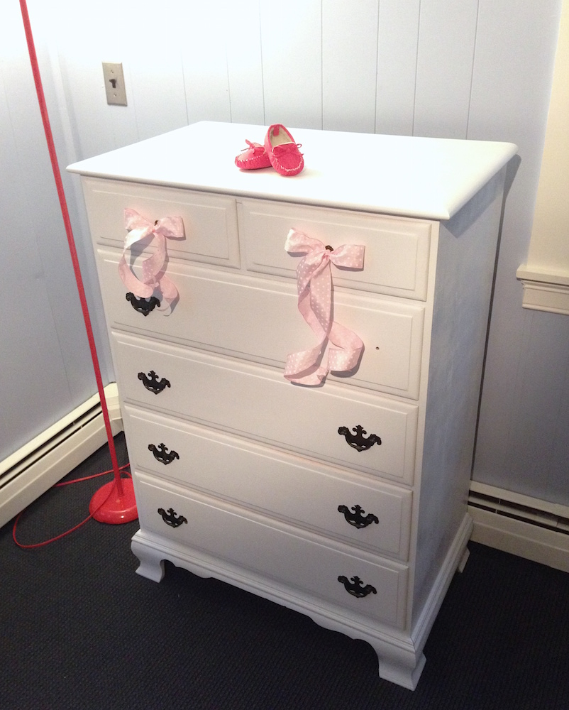 After! Mr. FW sanded, painted, and repaired the previously duct taped drawers (also pictured: a free hot pink lamp!)