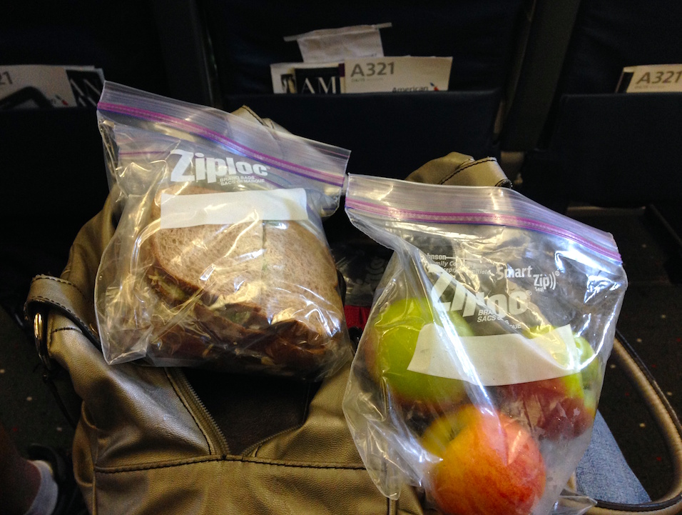 The lunch we packed for our flight to Charlotte: chicken salad sandwiches and apples!