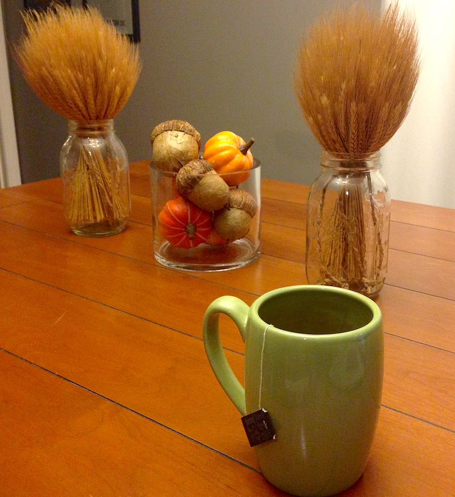 Taking time to enjoy tea with my fall decor